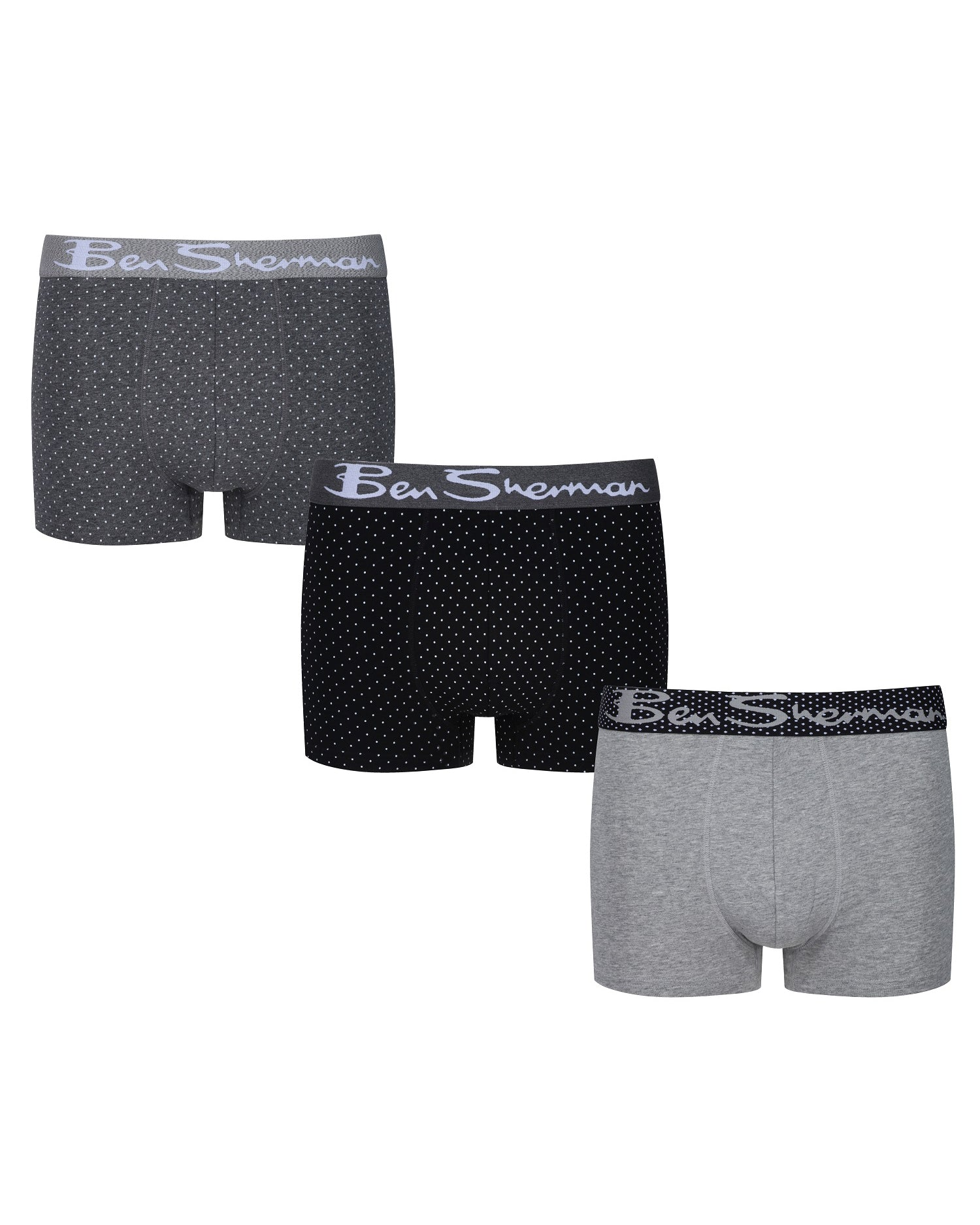 Giles Men's 3-Pack Fitted No-Fly Boxer-Briefs - Charcoal Grey Marl/Grey Marl/Black Spot