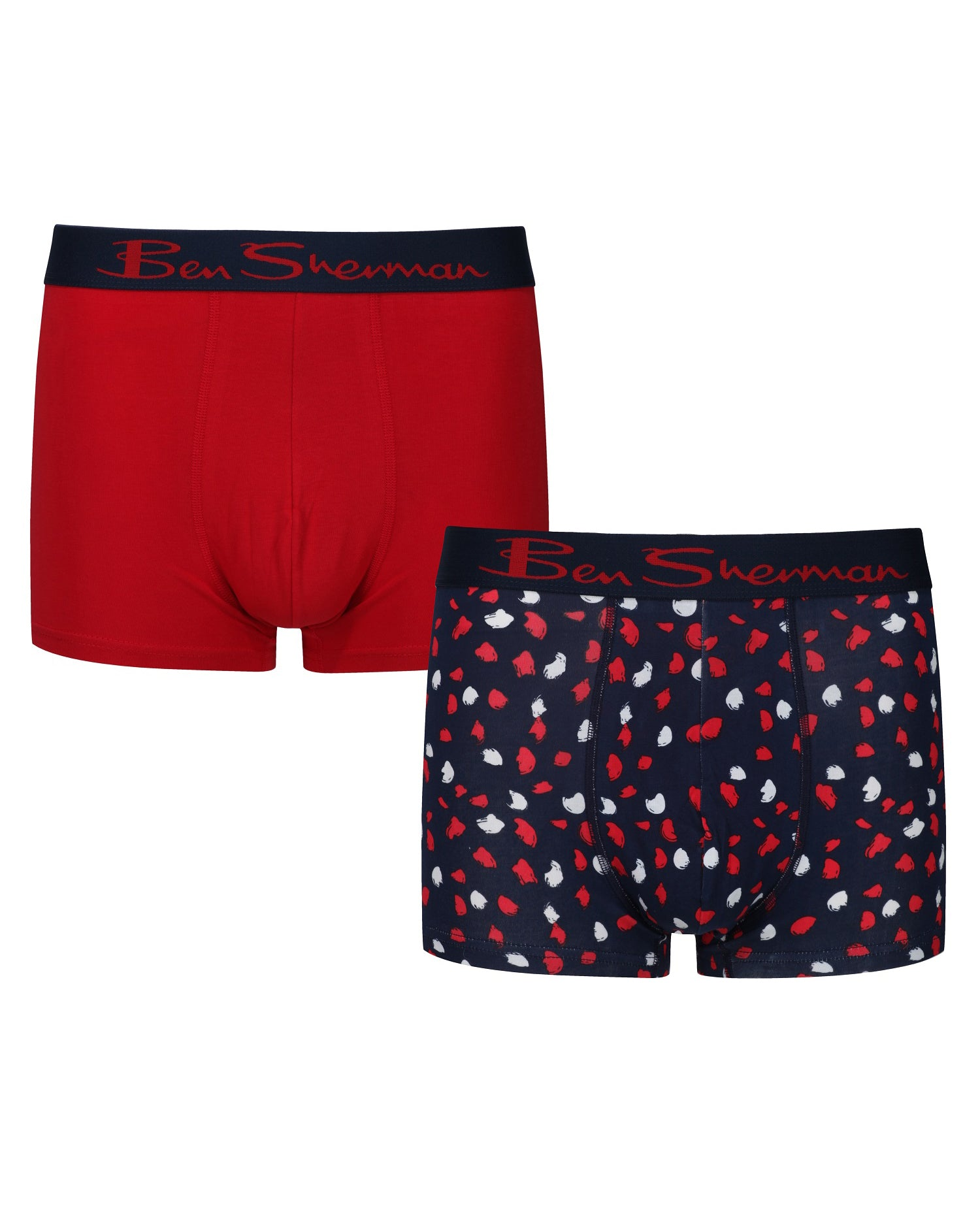 Lance Men's 2-Pack Fitted No-Fly Boxer-Briefs - Red Navy/Smudge Print