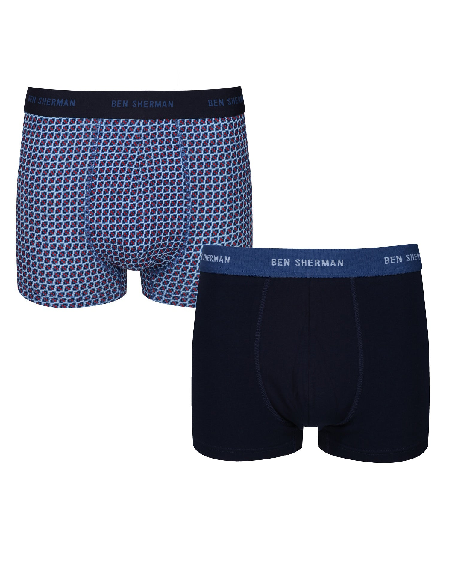 Laz Men's 2-Pack Fitted Boxer-Briefs - Skyway Print/Navy