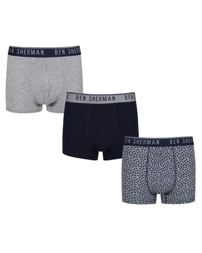 Caleb Men's 3-Pack Fitted Boxer-Briefs - Grey/Print/Navy