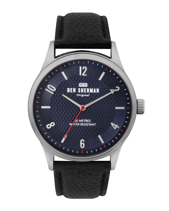 Men's Spitalfields Vinyl City Watch - Black/Navy/Silver