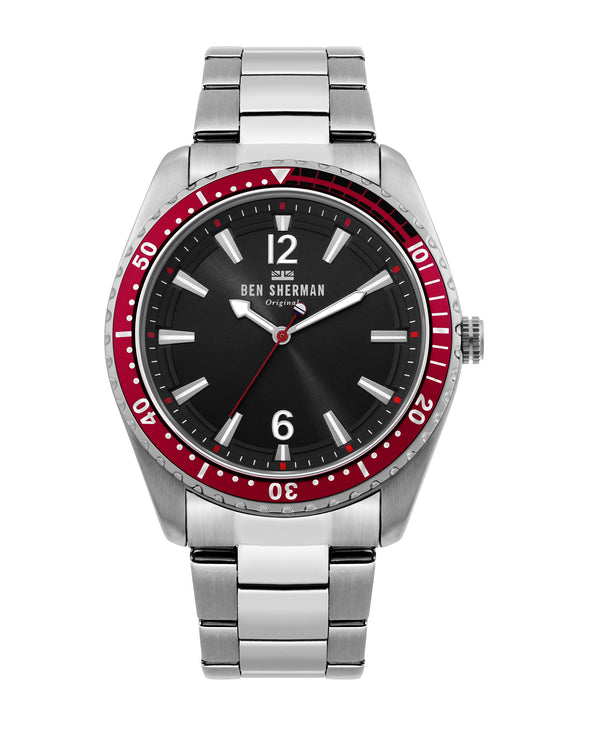 Men's Ronnie Diver Watch - Silver/Black/Silver