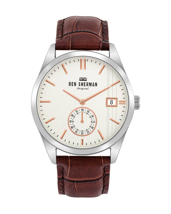 Men's Spitalfields Heritage Watch - Brown/Off-White/Silver