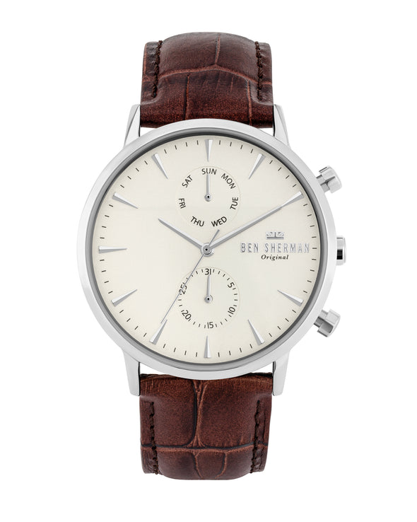 Men's Portobello Professional Multi Watch - Brown/Off-White/Silver