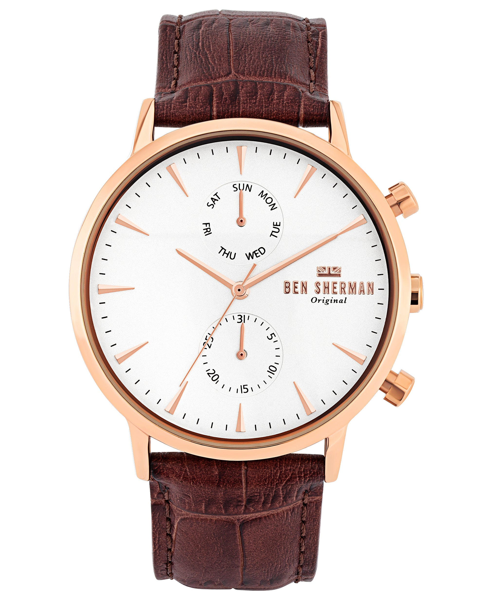 Men's Portobello Professional Watch - Brown/Off-White/Rose Gold