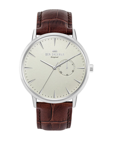 Men's Portobello Professional Multi Watch - Brown/White/Silver