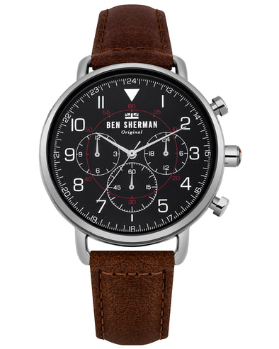 Men's Portobello Military Watch - Brown/Matte Black/Silver