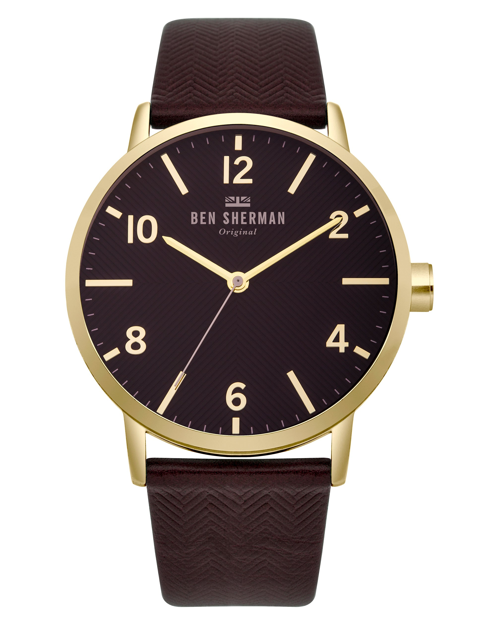 Men's Big Portobello Herringbone Watch - Black/Mulberry/Rose Gold