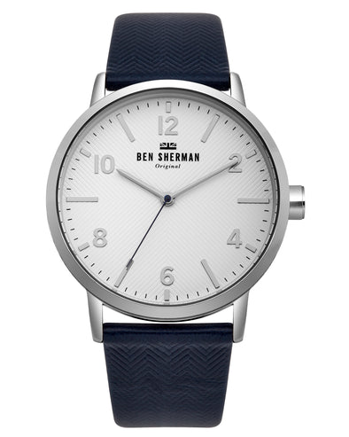 Men's Big Portobello Herringbone Watch - Black Blue/White/Silver