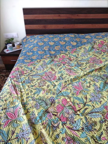 Katha Work Reversible Cotton Bed Cover - Double Bed