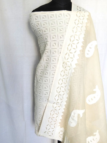Cotton Dupatta with Applique Work