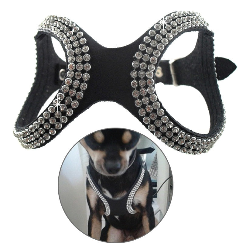 2017 PU Leather Pet Puppy Dog Collar Harness  Bling Rhinestone Collars Pets Care Products Accessories 2017ing