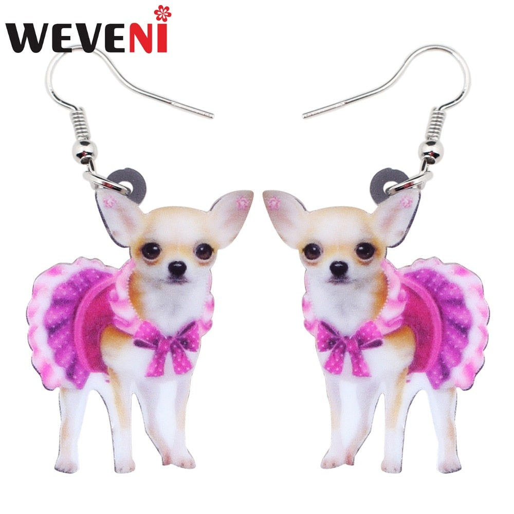 WEVENI Acrylic Pink Dress Chihuahua Dog Earrings Big Long Dangle Drop Animal Jewelry For Girls Women Ladies Teen Accessories Pet