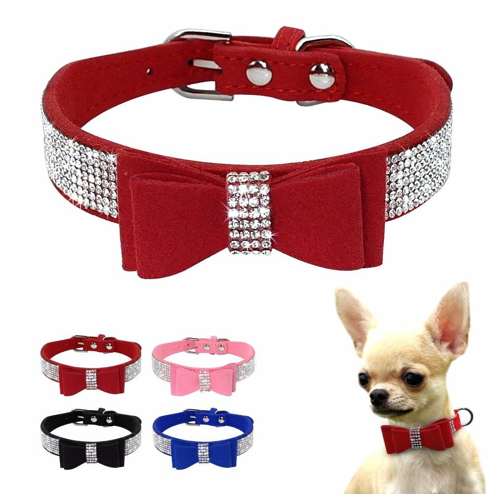 Soft Seude Leather Puppy Dog Collar Bling Rhinestone Bowknot Kitten Cat Collars For Small Medium Dogs Cats Chihuahua Pink XXS-M