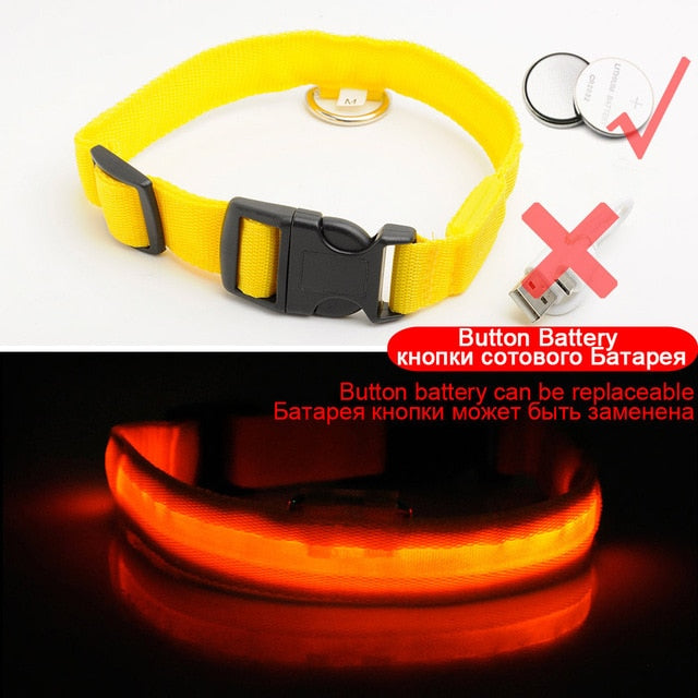 Glowing LED Dog Collar Anti-Lost Nylon Light Collar For Dogs Puppy at Night Cool Pug Dog Supplies Pet Products Accessories