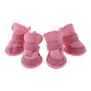 4 Pcs Thick Snow Dog Shoes Pet Chihuahua Animal Warming Shoes Plush Winter Pets Puppy Cats Warm Boots XS/M/L/XL Dog Shoes Winter