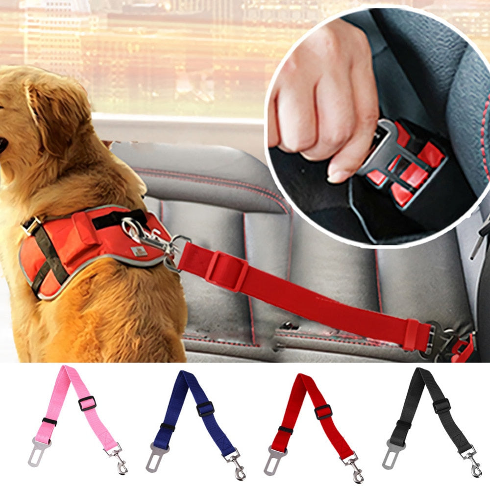 43-70cm Adjustable Dog Car Safety Seat Belt Vehicle Seatbelt Harness Lead Clip Pet Dog Supplies Safety Lever Auto Traction