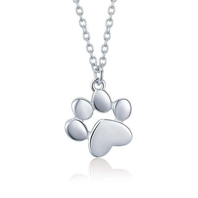 BAMOER Genuine 925 Sterling Silver Cute Animal Footprints Dog Cat Footprints Paw Necklaces Pendants Women Silver Jewelry SCN275