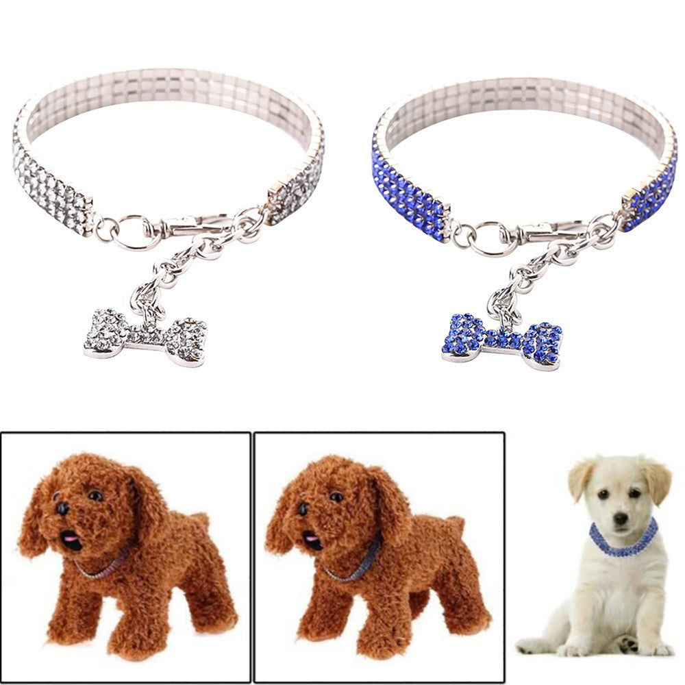 Cute Mini Pet Dog Bling Rhinestone Chocker Collars Fancy  Dog Necklace