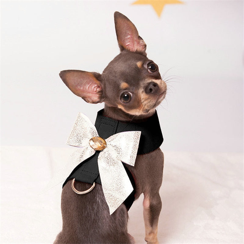 Pet Harness Collar Fashion Styles Dog Harness with BlingBling Bow Decoration Lead Functions Pet Products Harness