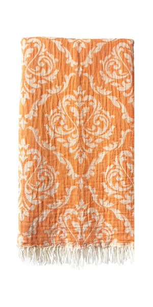 Hand-woven 100% Cotton Turkish Towel, Throw - Sultan Orange
