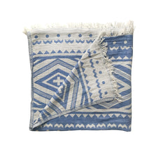 Load image into Gallery viewer, PRE-ORDER! Hand-woven 100% Cotton Turkish Towel, Throw - Geometric Blue