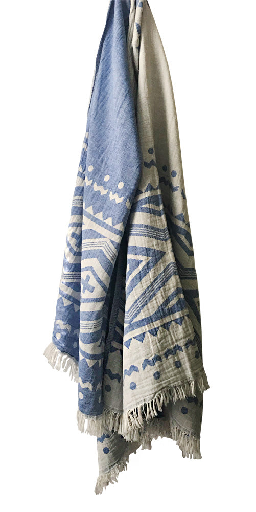 PRE-ORDER! Hand-woven 100% Cotton Turkish Towel, Throw - Geometric Blue