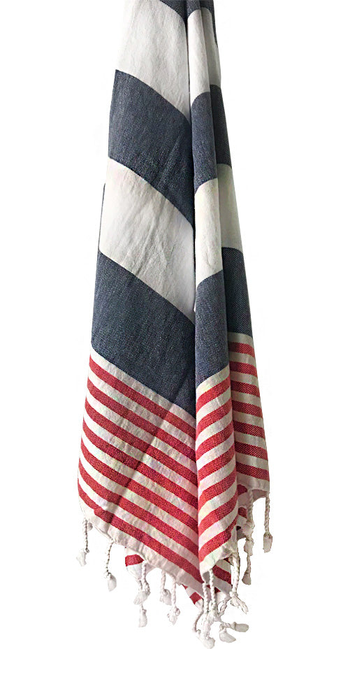 Hand-woven 100% Cotton Turkish Towel - Marine Navy