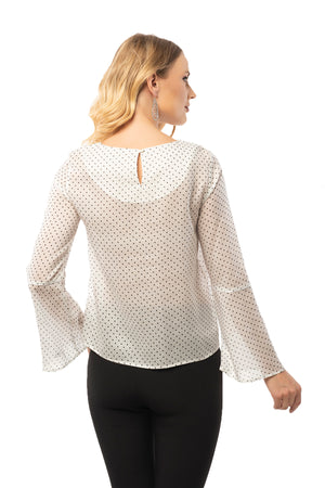 Spotted White Blouse - Long Bell Sleeve