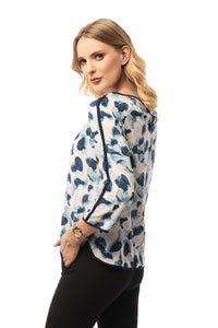 Casual Blue Blouse - 3/4 Sleeve