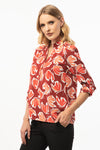 Mandarin Collar Ruby Blouse - 3/4 Roll Up Sleeve