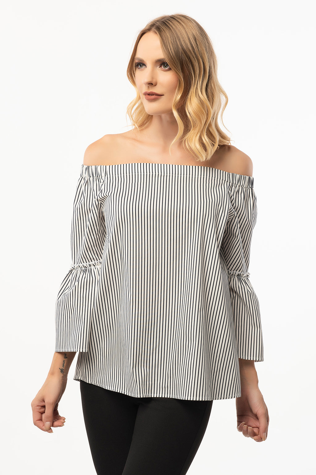 Strapless Black Striped Blouse - 3/4 Bell Sleeve
