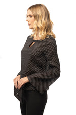 Spotted Black Blouse - Long Bell Sleeve