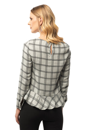Ruffle Bottom Detailed Grey Plaid Blouse - Long Sleeve