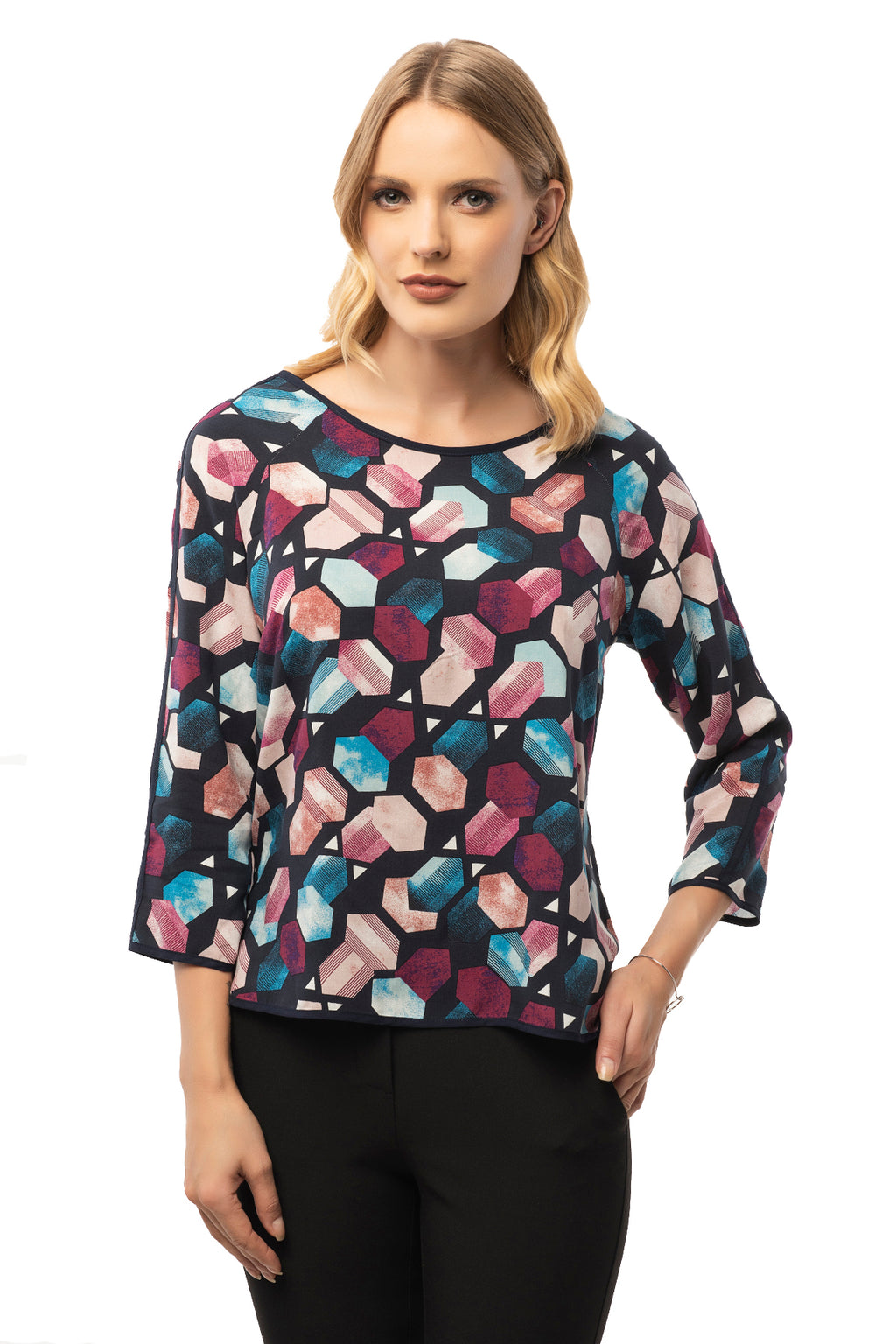 Casual Colorful Blouse - 3/4 Sleeve