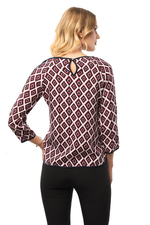 Casual Red Blouse - 3/4 Sleeve