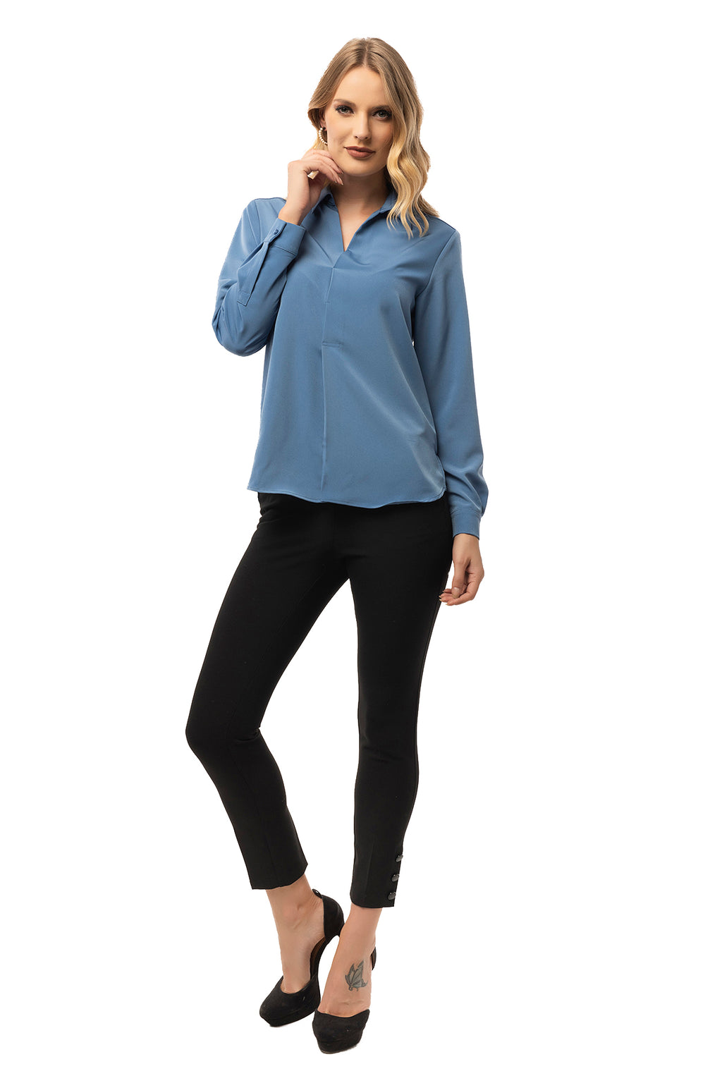 Center Pleat Blue Blouse - Long Sleeve
