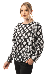 Two Side Ruffle Detailed Plaid Blouse - Long Sleeve