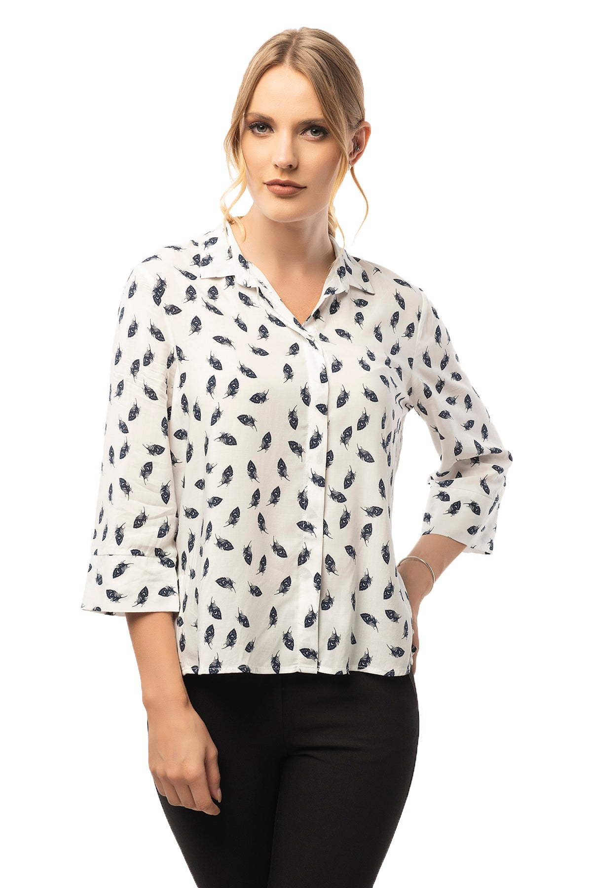 Hidden Front Button Down White Patterned Shirt - 3/4 Sleeve