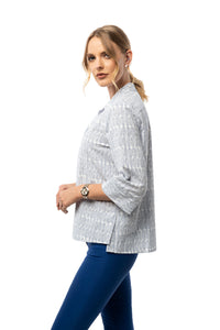 Side Slit Detail Front Button Down Shirt - 3/4 Sleeve