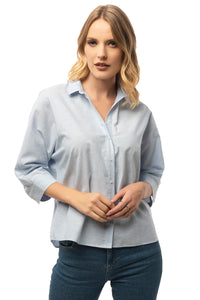 Casual Baby Blue Shirt - 3/4 Sleeve