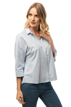Load image into Gallery viewer, Casual Baby Blue Shirt - 3/4 Sleeve