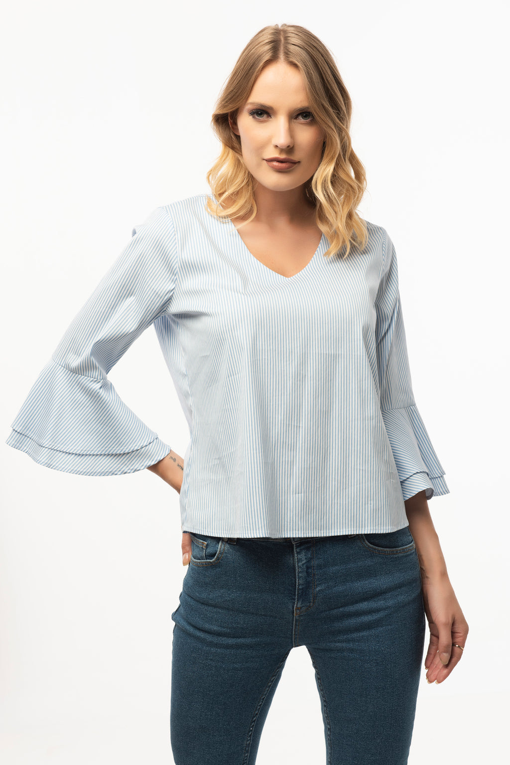 V Neck Light Blue Striped Blouse- 3/4 Sleeve