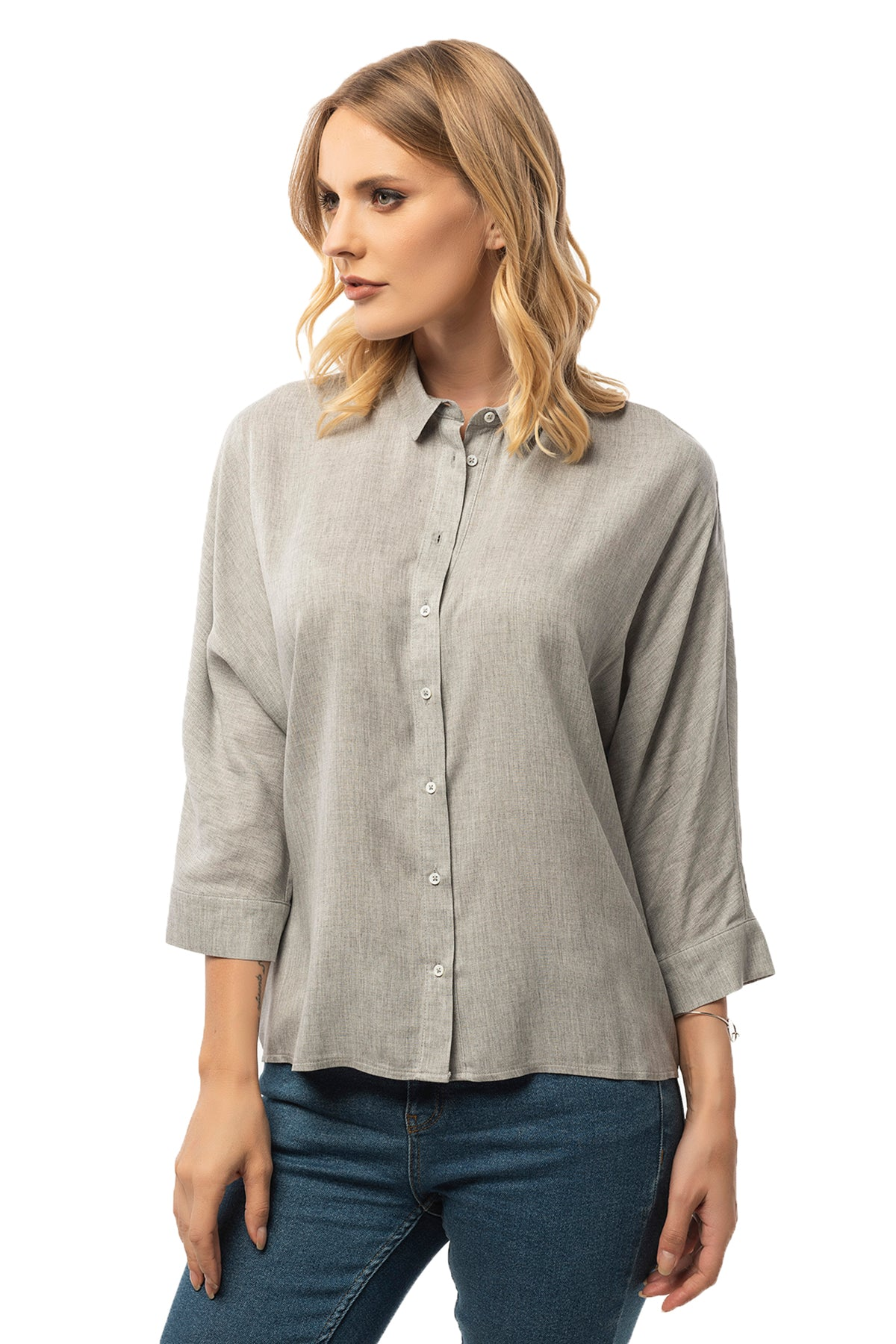 Casual Grey Shirt - 3/4 Sleeve