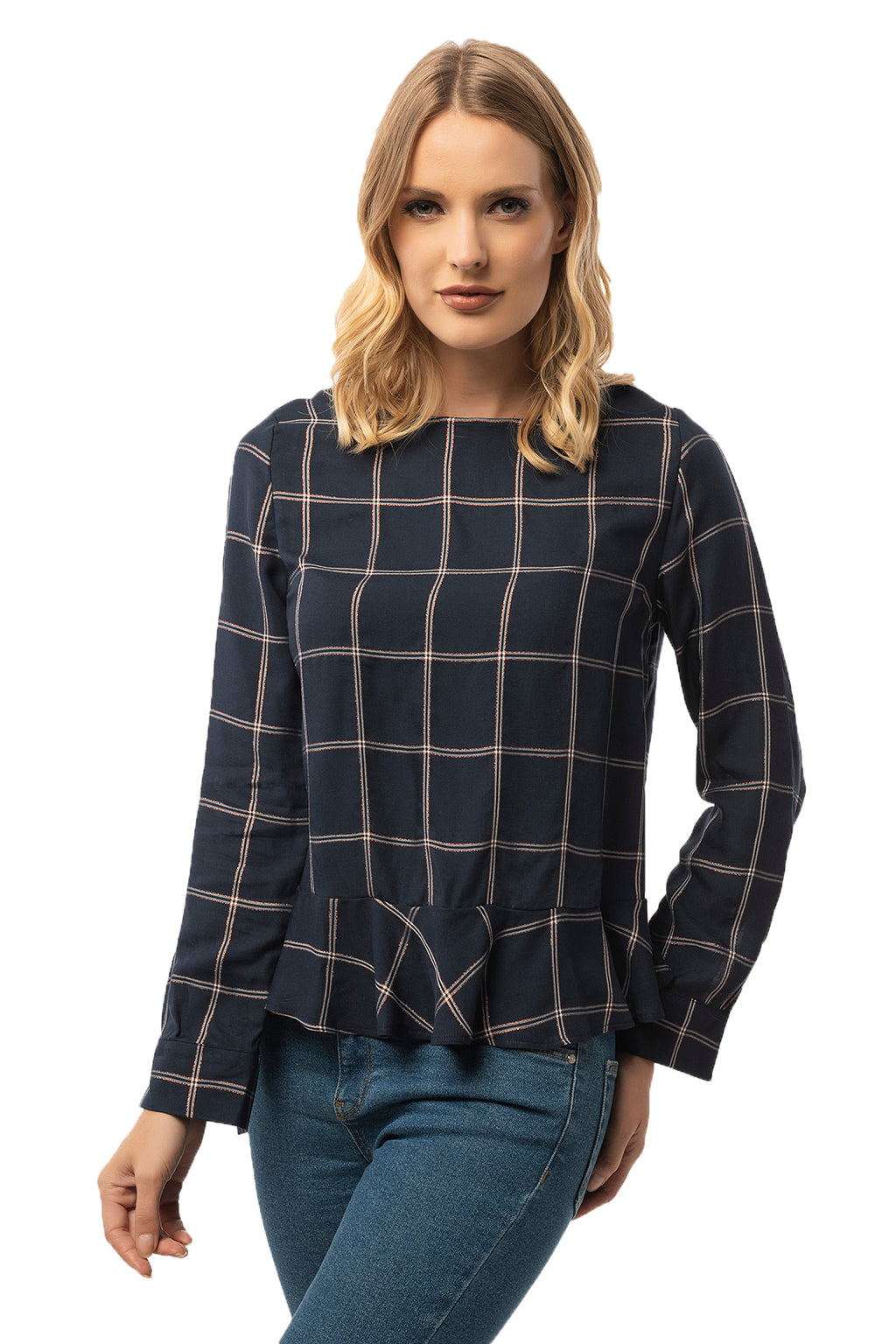 Ruffle Bottom Detailed Navy Plaid Blouse - Long Sleeve