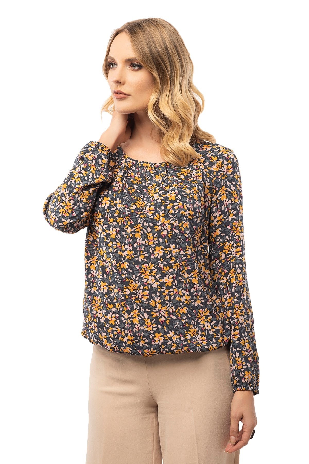 Gathered Bottom & Neck Floral Blouse - Long Sleeve