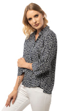 Hidden Front Button Down Navy Patterned Shirt - 3/4 Sleeve