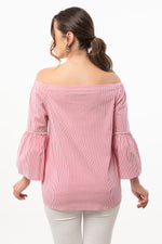 Strapless Pink Striped Blouse