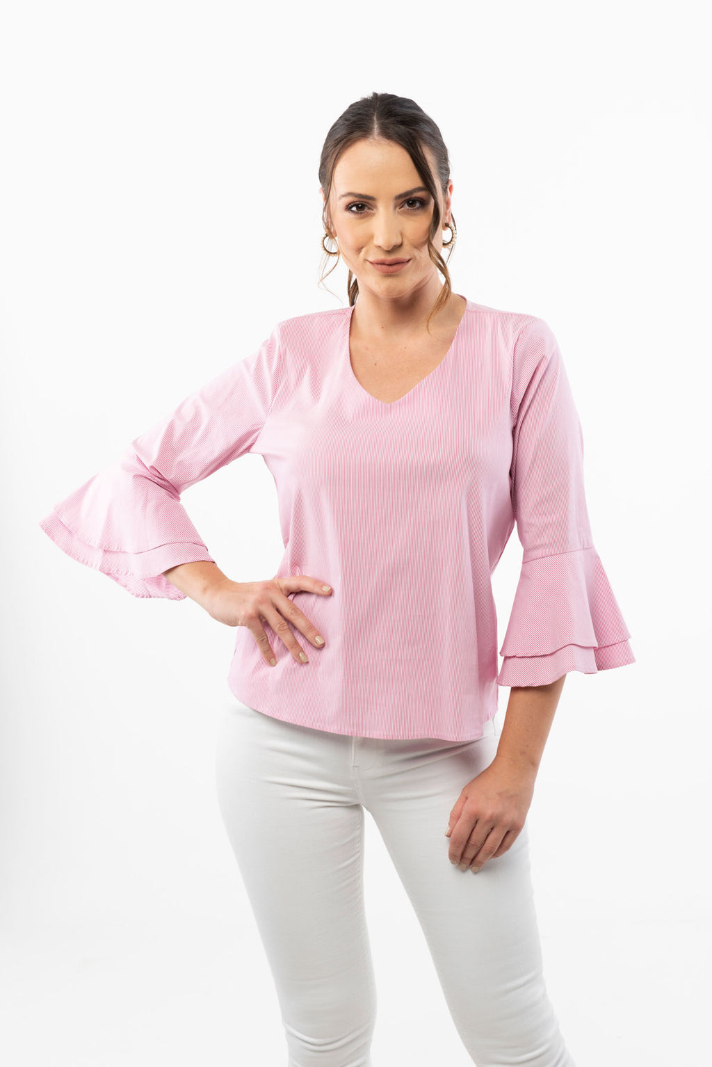V Neck Pink Striped Blouse - 3/4 Bell Sleeve