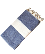 Load image into Gallery viewer, Hand-woven 100% Cotton Turkish Towel - Diamond Navy
